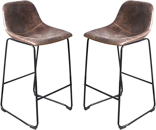 UPHOLSTERED BAR STOOLS BREAKFAST BAR STOOLS RETRO STYLE SEATS IN TWO SIZES