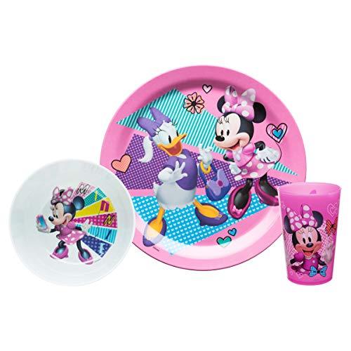 Zak Designs MMCX-0392-E Mickey & Minnie Mouse Kids Dinnerware Sets, 3 Piece, Minnie]()