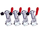 COOLOGIN 4Pcs Hand Tool Toggle Clamp Antislip Red Horizontal Clamp 201-B 220lbs Quick Release Tool