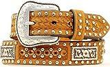 Nocona Boy's Rectangular Conchos Antique Buckle Belt, Medium Brown Distressed, 22