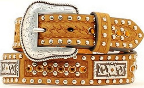 (Nocona Boy's Rectangular Conchos Antique Buckle Belt, Medium Brown Distressed, 22)