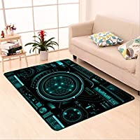 Sophiehome skid Slip rubber back antibacterial  Area Rug futuristic user interface hud tech elements for game creation or footage overlay sci fi vector 427467187 Home Decorative