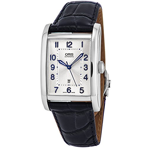 Oris Rectangular Date Womens Classic Silver Face Swiss Watch - Luminous Hands Blue Leather Band Rectangle Automatic Dress Watch For Women 01 561 7692 4031-07 5 18 25FC