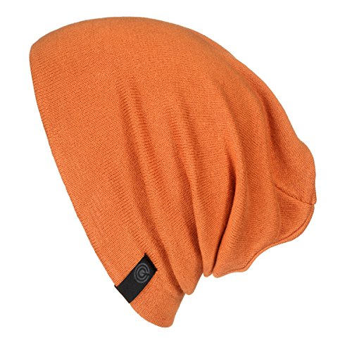 Warm Slouchy Beanie Hat - Deliciously Soft Daily Beanie in Fine Knit (Rust)