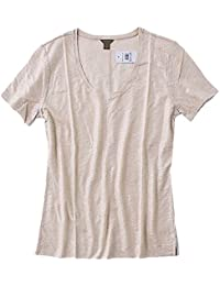 Womens - Solid Colors - Shimmery Champaign-Gold Linen Scoop Neck Tee