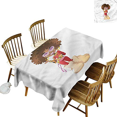 Sillgt Water Resistant Table Cloth Black Woman Seventies Style Outfit High-end Durable Creative Home 60