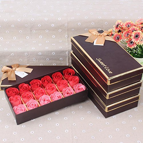 Besde 18Pcs Scented Rose Flower Petal Bath Body Soap Wedding Party Gift Home DIY Decoration (Red)