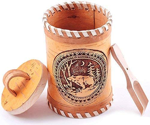 - Birch Bark Canister with a Wooden Spoon and Lid for Vintage, Rustic or Farmhouse Look   Kitchen Storage Container for Serving Tea, Sugar, Salt, Herbs and More. 100% Eco-friendly
