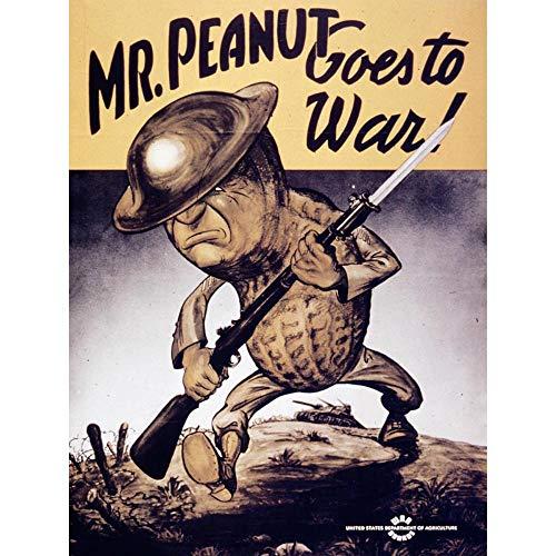 Wee Blue Coo Propaganda War WWII USA Mr Peanut Helmet Gun Unframed Wall Art Print Poster Home Decor ()