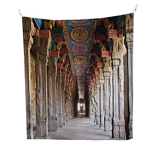 Pillarcool tapestrySpiritual Theme Inside of Old Meenakshi Temple in South Asia Digital Image Print 57W x 74L inch Tapestry for wallLight Grey