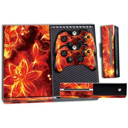 Designer Skin Sticker for the Xbox One Console With Two Wireless Controller Decals Fireblaze
