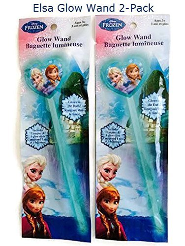 Disney Frozen Princess Elsa Glow Wand 2-pack Girl Birthday Party Favor Toy Costume Accessory Glow Stick (Princess Stick Disney)
