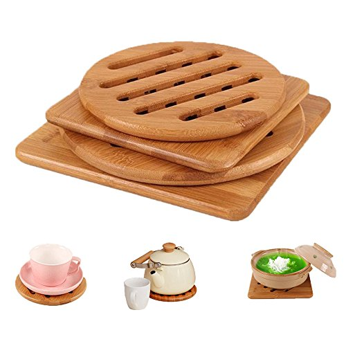 Natural Bamboo Trivet Mat Set, Kitchen Wood Hot Pads Trivet, Heat Resistant Pads for Hot Dishes/Pot/Bowl/Teapot/Hot Pot Holders, Anti-Hot Non-Slip Durable,Square and Round (Pack of 4), by (Hot Pad Trivets Pot Holder)