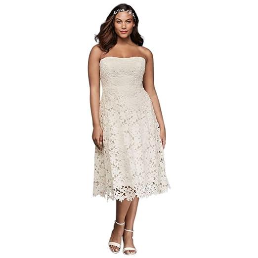 Floral Plus Size Tea Length Wedding Dress Style 9KP3784 ...