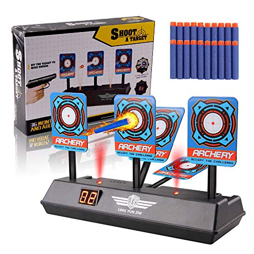 Jellydog Toy Auto-Reset Electric Scoring Target, Digital Target with Light Sound for Nerf Guns N-Strike Elite/Mega/Rival Series with -