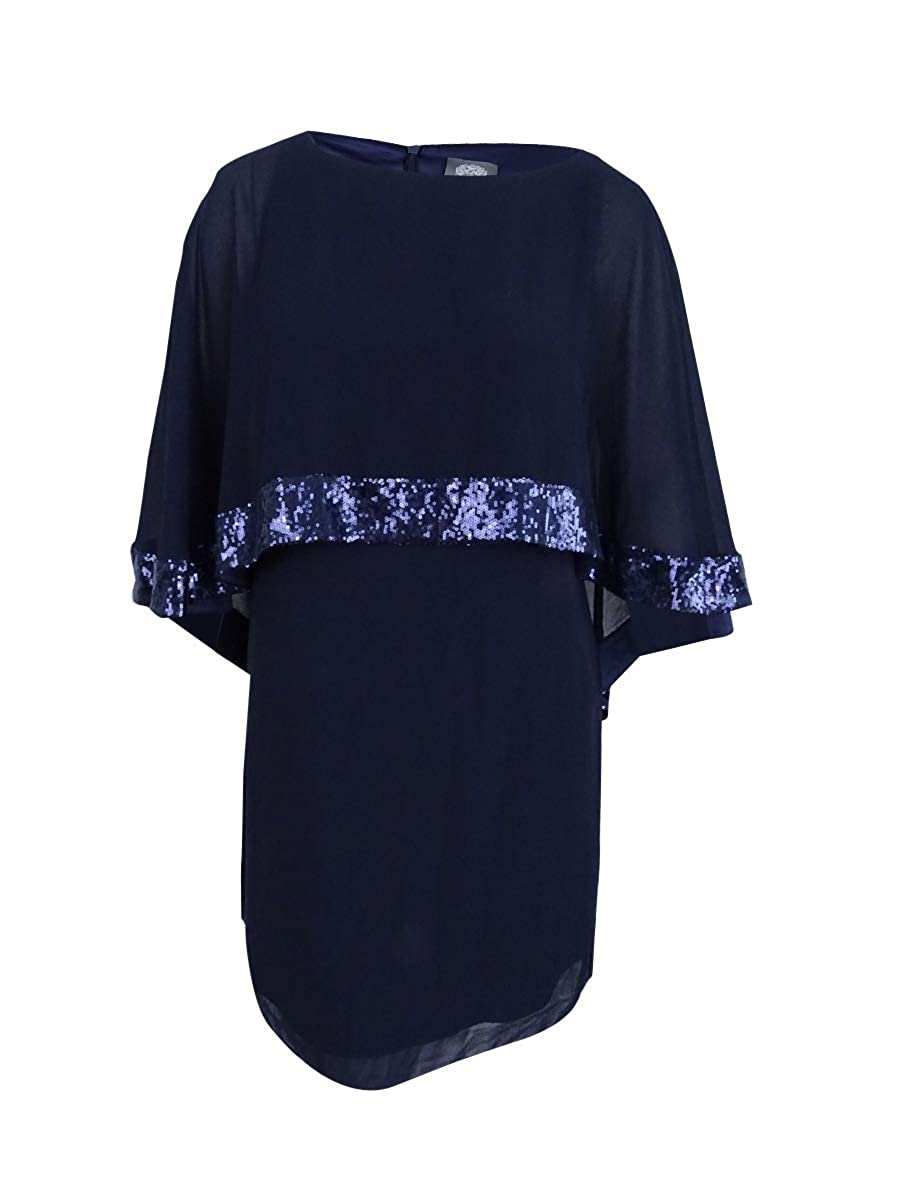 9b997f2274e1a Vince Camuto Women s Mini Dress with Cape Back Overlay and Sequin Trim Navy  Dress at Amazon Women s Clothing store