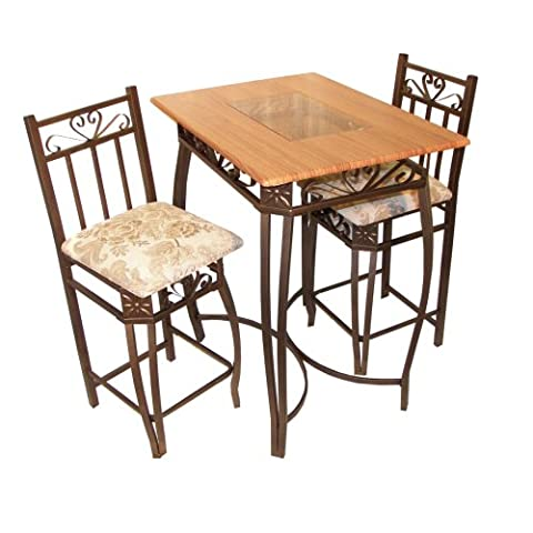Home Source Industries Barcelona Bronze Metal Counter Bistro Set with Light Wood Table Top and 2 - Pub Table Dinette