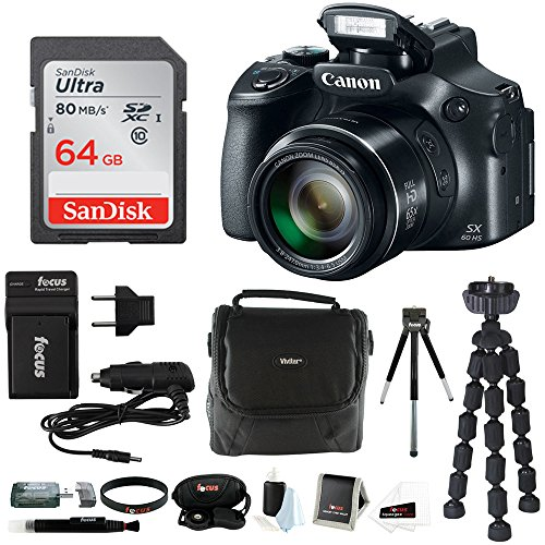Canon PowerShot SX60 HS 65x Optical Zoom Digital Camera w/ 64GB SD Card Bundle
