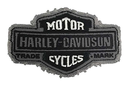 Harley-Davidson Trademark Bar & Shield Frayed Emblem Patch, 4.5 x 2.5 (Harley Davidson Designs)