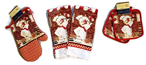 Italian Cooking Chef Linen Bundle Oven Mitt (1) Towels (2) Pot Holders (2) ()