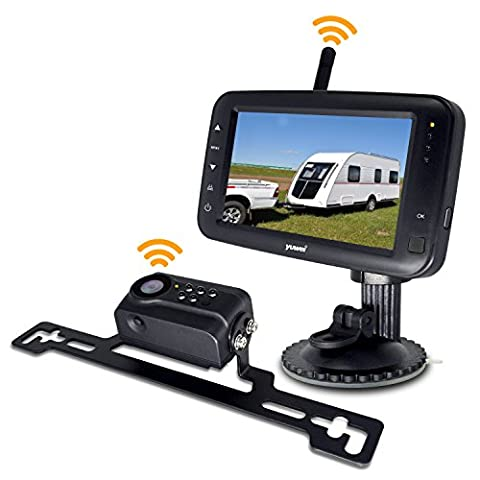 Wireless Backup Camera System, IP69k Waterproof Wireless License Plate Rear View Camera, Night Vision and 4.3 inch Wireless Monitor for Trailer, RV, Trucks, Pickup Trucks, Cargo Vans, - Rear View Backup Camera System