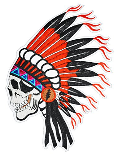 Native American Indian Chief Skull Biker - Motorcycle Embroidered Large Back Patch