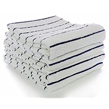 Luxury Extra large Beach-Pool towel;Premium Turkish quality 100% Cotton Hotel and spa collection, Made in Turkey(set of 4, Navy Blue Striped)