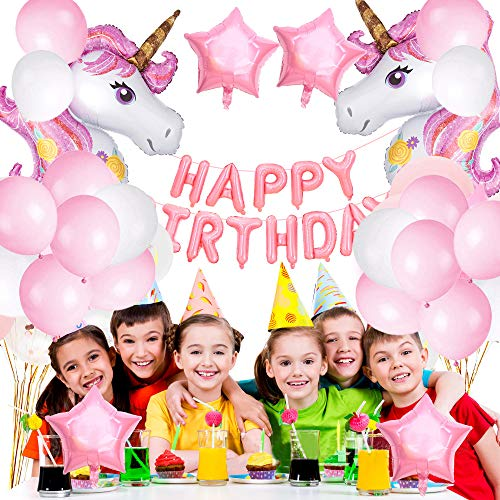 SDFY Suministros de Decoraciones de Fiesta de Unicornio 10 Personas Rosa Desechable Plato Servilletas Taza Paja Mantel para Ni/ños Ni/ña Boda Accesorio de Decoraci/ón de Fiesta de Cumplea/ños 81 Piezas