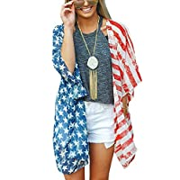 AMiERY Women's Summer Swimsuit Beach Wear Kimono Cover Up American Flag Tops Cardigan