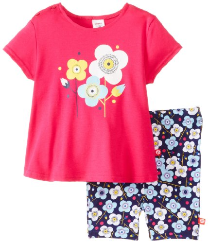 Zutano Baby-Girls Infant Blossom Swing Tee and Bike Short Set, Multi, 24 Months