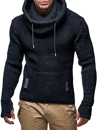Leif Nelson Men's Knitted Pullover | Long-sleeved slim fit shirt | Basic longsleeve sweatshirt with shawl collar for Men