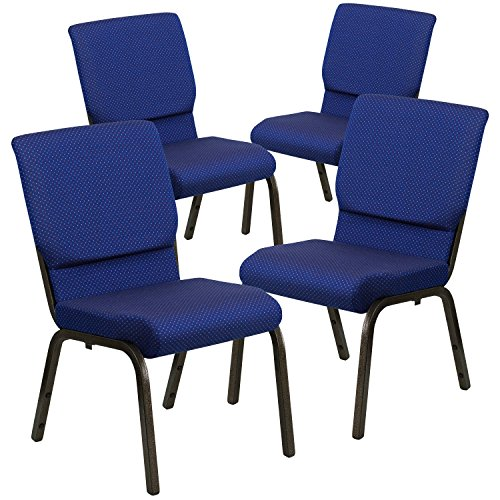 - Flash Furniture 4 Pk. HERCULES Series 18.5''W Stacking Church Chair in Navy Blue Patterned Fabric - Gold Vein Frame