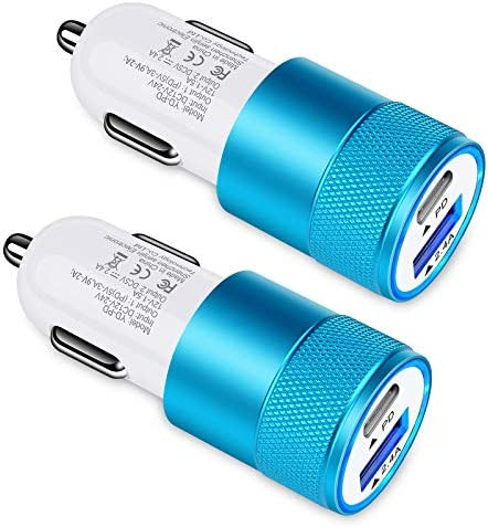 30W USB C Car Charger, [2Pack] 3.0 Fast Charge Dual Port USB Type C and 2.4a USB A Cargador Carro Lighter Adapter for iPhone,Tablet, iPad, Samsung Galaxy, LG, Google Pixel GPS, Z Play Droid, Motorola