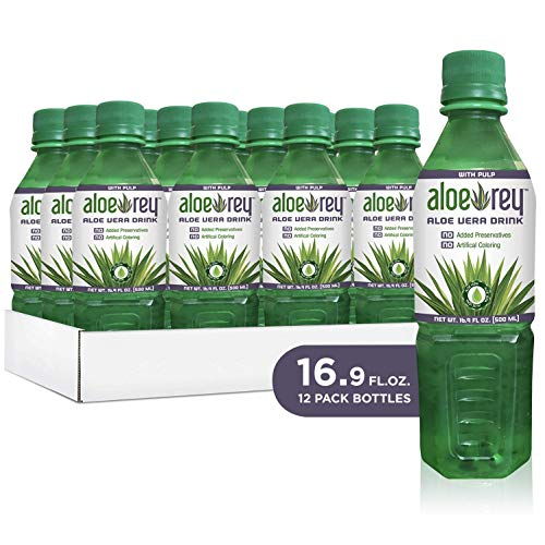 New Aloe Rey Naturally Flavored Aloe Drink with Pulp, 30 Calories per serving, No Preservatives, 16.9 oz. bottle. (Original, Pack of ()