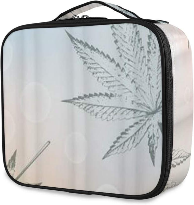 SUGARHE Impresión de Hoja de Cannabis Sativa,Neceser Maquillaje,Bolsa Cosméticos Organizador Brochas Maquillaje Estuches Portátil