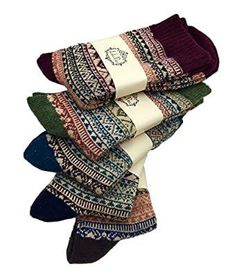 LuluVin 5 Pairs Men's Warm Wool Blend Winter Crew Socks Causal & Trendy