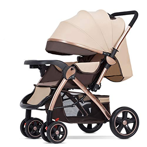 TXTC Compact Convertible Luxury Strollers, Pushchair Stroller,Portable Pram Carriage Multifunctional Pushchair ,5-Point Harness and High Capacity Basket (Color : Brown)