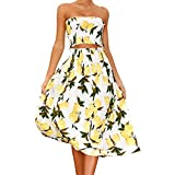 Mose Skirts for Women, Womens Lemon Print Halter Two Piece Slash Neck Tops Casual Elegant Summer Beach Vest Shirt Blouse Set New (Yellow, M)