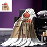 smallbeefly Tribal Throw Blanket Arabian Castle Cartoon Style Fairy Tale Palace Medieval Historical Architecture Art Warm Microfiber All Season Blanket for Bed or Couch Multicolor