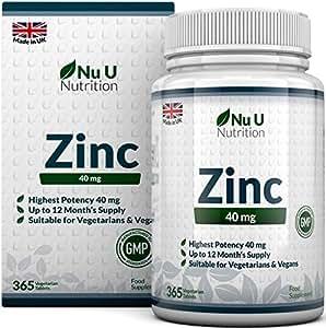 Zinc - Gluconato de Zinc 40 mg - 365 Comprimidos (Suministro Anual) - Zinc Suplemento de Nu U Nutrition