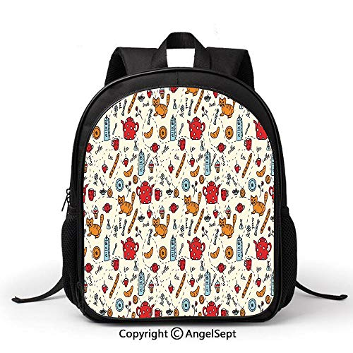 Lightweight Backpack for School,Kitchen Decor,Cats Tea and Sweets Coffee Morning Muffins Milk Bread Home Cafe Cartoon Doodle Art,Red Cream Orange,Student schoolbag Daypack for Travel