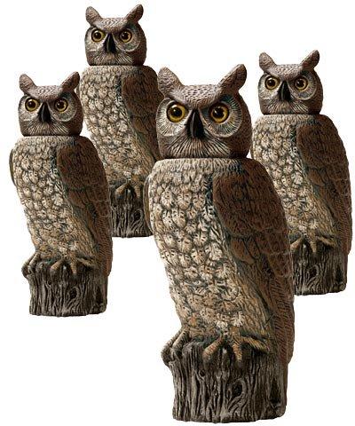 Gardeneer Solar Scarecrow Owls with Rotating Heads, 4 Pack (Head Gardeneer Rotating)