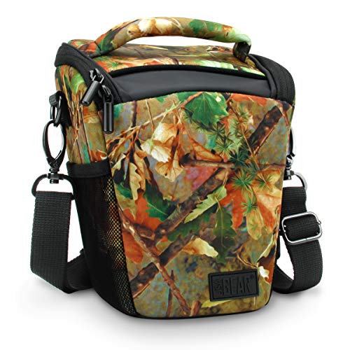 USA Gear SLR Camera Case Bag (Camo Woods) with Top Loading Accessibility, Adjustable Shoulder Sling, Padded Handle, Removable Rain Cover and Weather Resistant Bottom