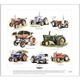 Tractors of the 1960s Fine Art Print --- Fordson, John Deere, Massey Ferguson & David Brown. Ready to frame.