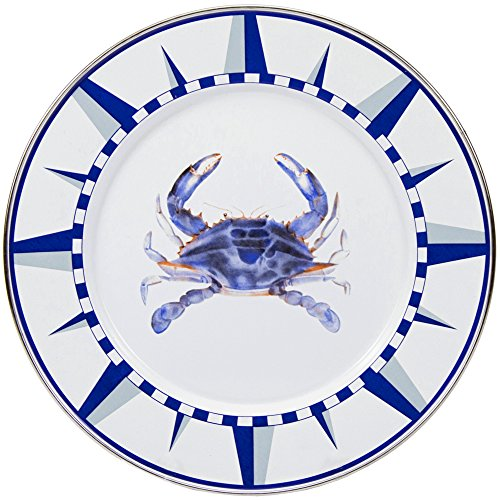 Enamelware - Blue Crab Pattern - 10.5 inch Dinner Plate