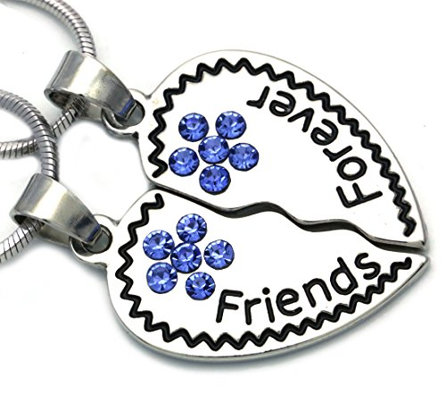 Soulbreezecollection Best Friends Forever BFF Heart Necklace Pendant Charm Engraved Letters (Blue)
