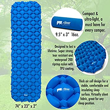 Alma Outdoors Sleeping Pad for Camping. Compact, Ultralight and Inflatable Backpacking Sleeping Pad. Great for Hiking and with Your Hammock. Durable Camping Sleeping Pad with Great Comfort.