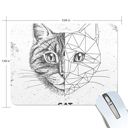 White Cat Ears Game Mouse Pad Customization, Mouse Pad Custom Rectangular Non-Slip Rubber Mouse Pad, Suitable for Computer Notebook