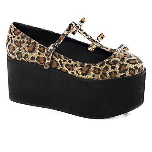 Demonia Click 08 Womens Sandals, Blk Canvas Leopard Print Canvas