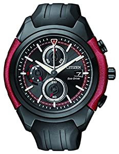 Citizen Watch Men's chronograph men's Solar Powered Watch with Black Dial Analogue Display and Black Rubber Strap CA0287-05E